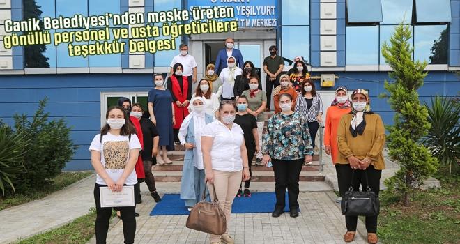 Canik Belediyesi'nden Maske Üreten Gönüllü Personel ve Usta Öğreticilere Teşekkür Belgesi